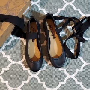 Free People Black lace up ballet flats